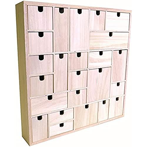 Artemio Adventskalender zum Dekorieren, geometrisches Muster, Holz, 40x 40x 6,5cm