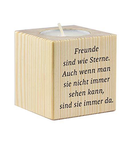 Teelichthalter aus Holz mit dem Druck Freunde sind wie Sterne - als Geschenk zum Geburtstag oder zu...