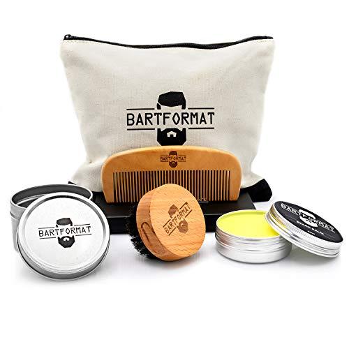 BARTFORMAT® 4-teiliges Bartpflege-Set GLATTMACHER - inklusive Bart-Balsam (60ml) + Bart-Bürste + Bart-Kamm +...