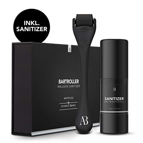 Anthony Brown® Bartroller 0.5mm für mehr Bartwuchs - mit Reinigungsspray für sorglose Anwendung -...