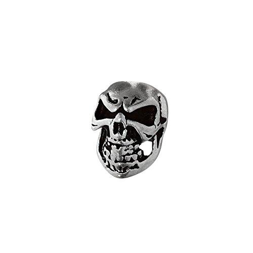 NKlaus Haarschmuck Bartperle JACK Totenkopf 925 Sterlingsilber Silber Lockenperle 6396