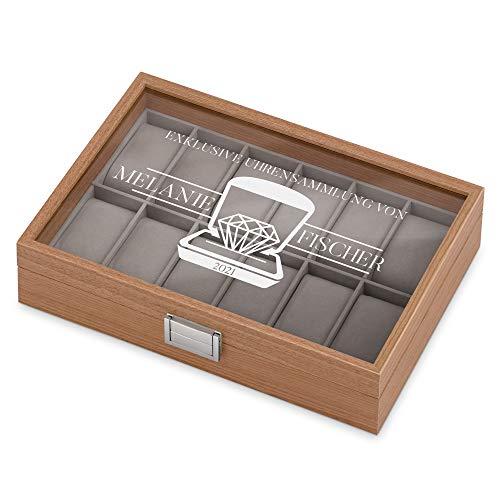 Murrano Uhrenbox mit Gravur für 12 Uhren - 31x21x7,5cm - Uhrenkasten aus Holz - Braun - Geschenk zum Geburtstag für Damen - Exklusive Uhrensammlung