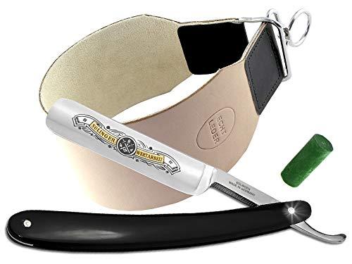Rasiermesser Set mit Bartpflege Messer Schleifpaste aus Solingen und Extra breitem Abziehleder Streichriemen von InstrumenteNRW mit Sitz in Deutschland ein Rasier-Set für Männer Herren zur Nassrasur