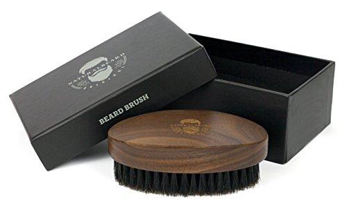 NaturalBeard Original Barbershop Bartbürste aus Walnussholz ~ Echtes Wildschweinhaar für die natürliche...
