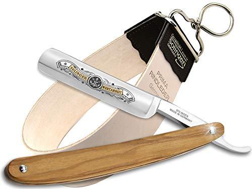Rasiermesser Set aus Solingen Made in Germany mit Holzgriff Rasier-Set mit Rasiermesser und Streichriemen von...