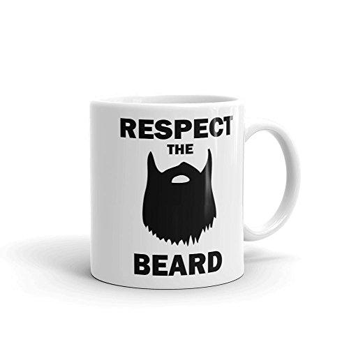 """Keramiktasse mit der Aufschrift """"Respect The Beard"""", Weiß, 325 ml"""