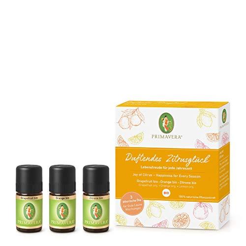 PRIMAVERA ätherische Öle Set Duftendes Zitrusglück - Geschenkbox 3 x 5 ml Zitrone, Orange, Grapefruit -...