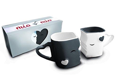 MIAMIO - Kaffeetassen/Küssende Tassen Set Geschenke für Frauen/Männer/Freund/Freundin zur...