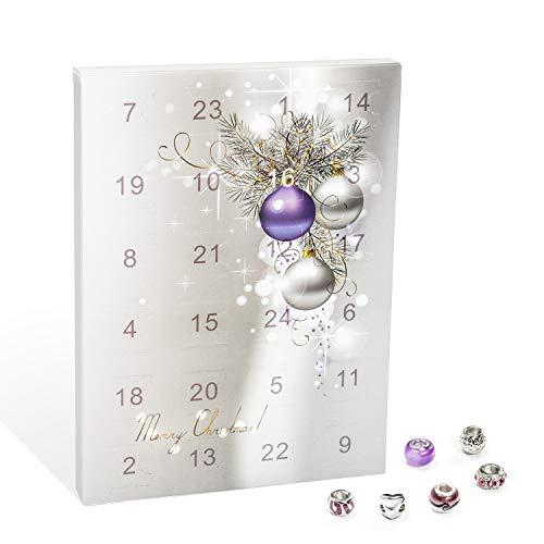 VALIOSA Merry Christmas Mode-Schmuck Adventskalender mit Halskette, Armband + 22 individuelle Perlen-Anhänger aus Glas und Metall, Geschenkidee für Mädchen, lila, 24-teilig (1 Set)