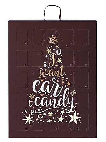 SIX Schmuck-Adventskalender für Frauen mit I Want Ear Candy Schriftzug und 24 raffinierten Überraschungen, Kalender zum Aufhängen oder Hinstellen, Mix & Match (388-353)