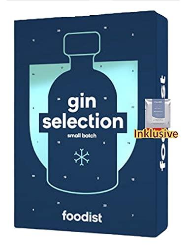 Foodist Gin Adventskalender 2021 - 24x50ml Gin Flaschen Advent Kalender, Ginadventskalender, Gintonic Alkohol Adventkalender Weihnachtskalender