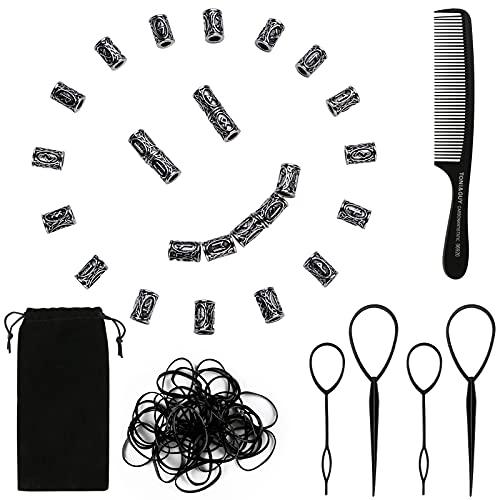 24 Stück Haarperlen Runenperlen Bartperle Bartschmuck Weben für Armband Halskette DIY Anhänger Set