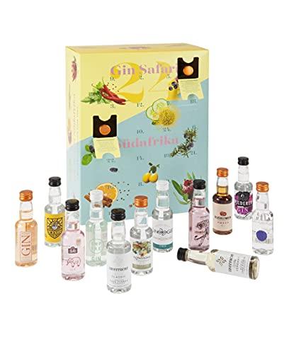 Südafrika Genuss - Gin Adventskalender - 24 x 50 ml Craft Gin aus Südafrika und Kenia [ Inverroche, Procera, Monks, uvm. ]