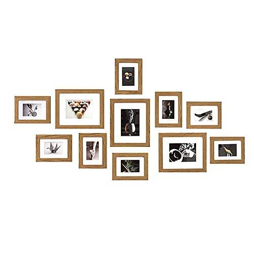 Muzilife Bilderrahmen Set Collagen 11er mit Passepartout Natur Fotorahmen Modern Home Family Bilderwand 8pcs 16.5x22cm + 3pcs 24x29cm (Natur)