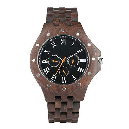 OIFMKC Holzuhr Luxus 100% Holzgehäuse Herrenuhren Casual Kalender Display Mann Armbanduhr Holzband Uhren Männliche Uhr Geschenke-style1