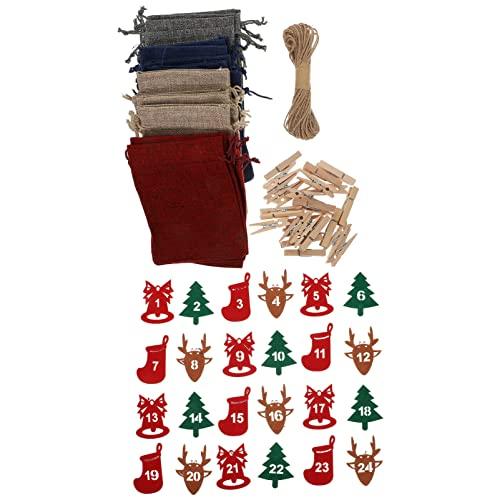 Amosfun Adventskalender Tasche 24 Tage: Weihnachten Countdown Kordelzug Beutel DIY Hängende Sackleinen Tasche Banner mit Holz Clip Seil Nummern Verzierung Für Wandbaum Kamin Dekoration