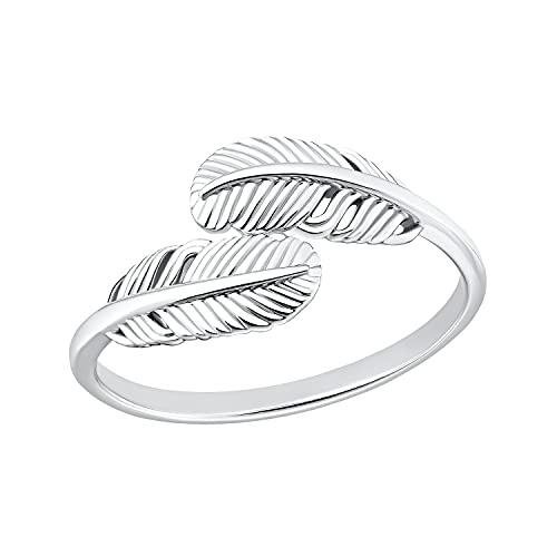 s.Oliver Ring 925 Sterling Silber Damen Ringe, Silber, Feder, Kommt in Schmuck Geschenk Box, 2032582
