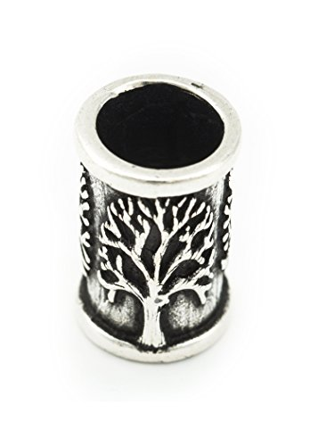 Battle-Merchant Bartperle Wikinger mit Lebensbaum aus Silber - Yggdrasil Mittelalter Perle Dreadlocks Innendurchmesser 7mm