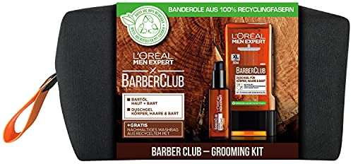 L'Oréal Men Expert Geschenkset mit Bartöl und Duschgel, Barber Club Herren Bartpflegeset, Mit ätherischem Zedernholzöl, Inklusive Kulturbeutel, 1 x 330 ml