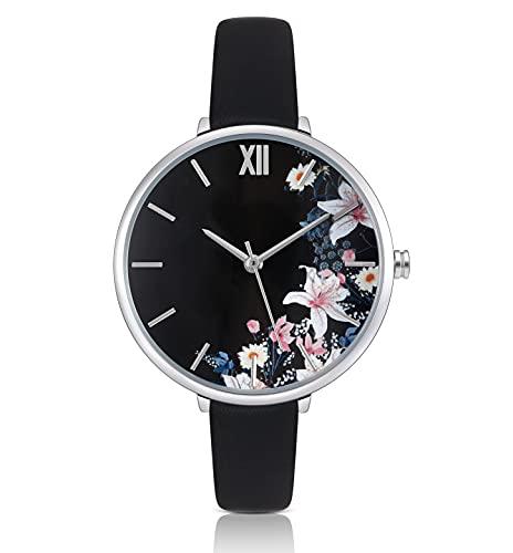 KIMOMT Damenuhren Lederband Luxus Quarzuhren wasserdichte Mode Kreative Armbanduhr für Damen Mädchen Damen