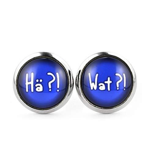 SCHMUCKZUCKER Damen Herren Unisex Ohrstecker mit Spruch - Hä?! - Wat?! Lustige Edelstahl Ohrringe Silber Blau 12mm
