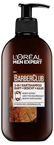L'Oréal Men Expert Bartshampoo für Bart, Gesicht und Haar, Barber Club 3-in-1 Bartshampoo mit Zedernholzöl für die tägliche Bartpflege, 1 x 200 ml
