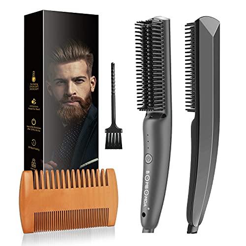 Bartglätter Kamm für Männer, 2 in 1 Multifunktion Elektrische Bartbürste Haarglätter, Bard Glätten Set,...