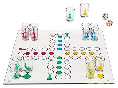 Out of the Blue 79/3943 - Glas Trinkspiel Ludo, mit 16 Gläsern und 2 Würfeln, Spielfläche ca. 31 x 31 cm, im Geschenkkarton