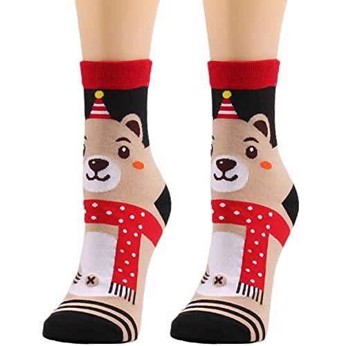 eiuEQIU Weihnachtssocken Damen Kuschelsocken Flauschige Socken Weihnachten Socken Lustige Weihnachtsmotiv Socken Winter Warme Socken Christmas Wichtelgeschenk Geschenk für Frauen Mädchen