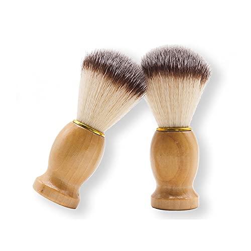 GDFFKS 2 Pack Herren Rasierpinsel, Bartbürsten mit Hartholzgriff, professionelles Haarsalon-Werkzeug, handgefertigter, übergroßer Borstenkopf, Vatertag
