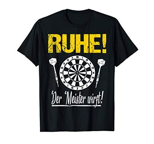 Herren Ruhe der Meister wirft Dart Sprüche Geschenk Dartspieler Fun T-Shirt