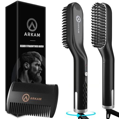 Arkam Ionen Bartglätter für Männer mit Bartkamm - Elektrischer Bartkamm für Herren - Glätteisen für Herren - Bart Stylingkamm und Haarglätter - Hochwertige Bürste