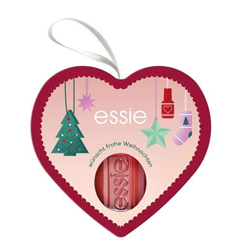essie Nagellack in weihnachtlicher Herz-Verpackung, Nr. 427 maki me happy, Nagellackfarbe in rot – für farbintensive Weihnachten
