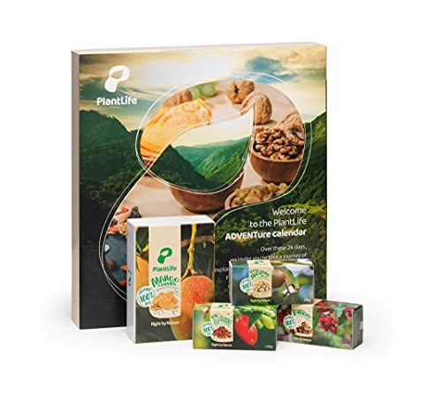 PlantLife Adventskalender 2021 – Veganer Weihnachtskalender mit feinsten BIO Nüssen, Trockenfrüchten und Mischungen in Rohkost-Qualität mit Überraschung – Gesamtinhalt: 790g