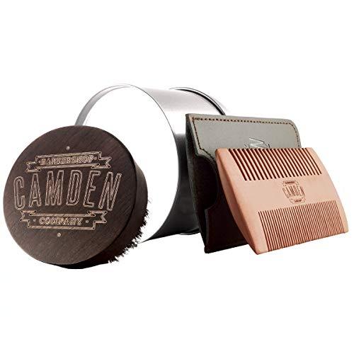 Bartbürste & Bartkamm von Camden Barbershop Company ● inkl. Case ● aus Walnuss- & Birnbaumholz ● Set...