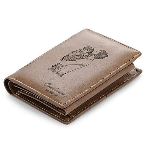 Personalisierte Foto Brieftaschen Benutzerdefinierte Leder Geldbörsen für Herren mit Text Datum Gravierte...