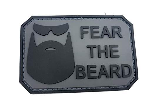 Klettband Aufnäher Fear The Beard Schwarz Grau PVC Patch