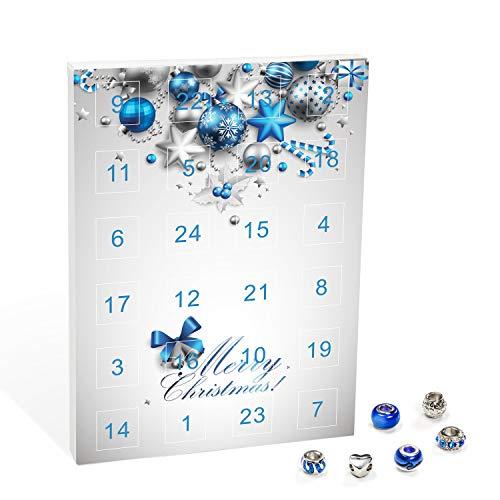 VALIOSA Merry Christmas Mode-Schmuck Adventskalender mit Halskette, Armband + 22 individuelle Perlen-Anhänger aus Glas & Metall, Geschenkidee für Mädchen, blau, 24-teilig (1 Set)
