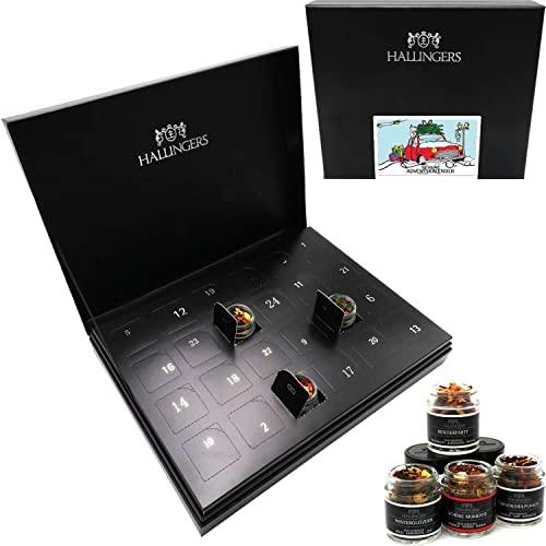Hallingers Tee-Adventskalender 24 Tees aus aller Welt (240g) - Tee Deluxe 24 Advent Hidden (Deluxe-Box) - zu Weihnachten Adventskalender