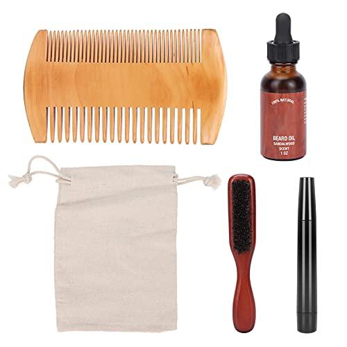 Bartpflege-Set für Männer, Bartpflege-Set Enthält Bartbürste für Männer, Bartkamm aus Holz, 30ml Bartöl und Bartstift mit Aufbewahrungsbeutel Geschenke für Väter Papa Männer Him