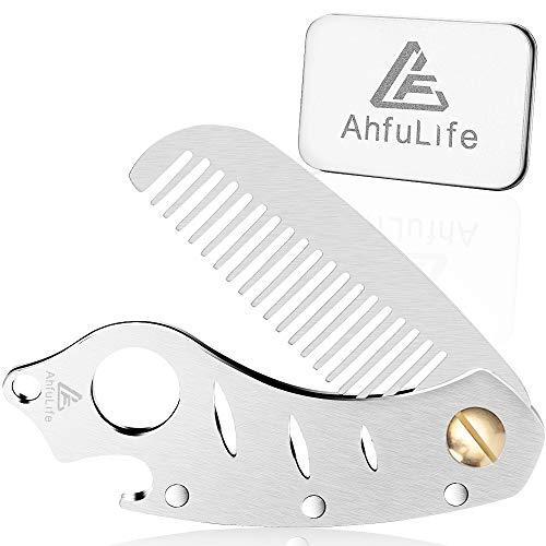 AhfuLife Faltbarer Metallkamm- und Bartkamm - Multifunktionaler Taschenkamm mit Flaschenöffnern - Antistatischer pflegekamm aus Edelstahl - Präsentiert in der Geschenkbox.