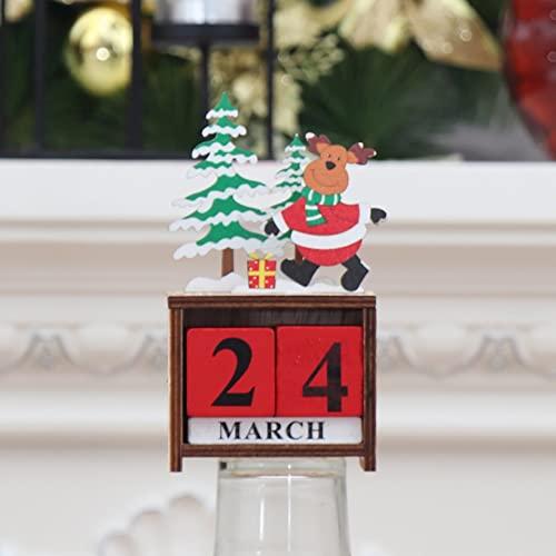 LOHOX Adventskalender Tisch Dauerkalender Weihnachtskalender Würfel Holz Bürokalender Weihnachten Deko für Kinder Mädchen Männer Erwachsene - 12.5X7X3.5CM