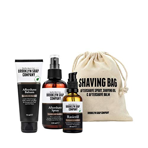 Brooklyn Soap Company: Shaving Bag · Hochwertiges Rasur-Set für Männer · Aftershave Balsam, Aftershave...