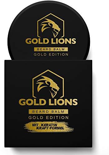 Gold Lions® Bartwachs Gold Edition I Beard Balm mit Keratin-Kraftformel - Bart balsam fördert gesunden Bart Wachstum I 100% natürlich I Bartpomade I harte Konsistenz (1 x 60 ml)