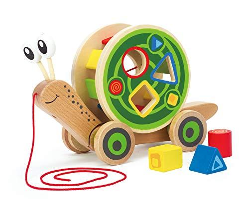 Hape Schnecke Ziehspielzeug  Preisgekrönt Kleinkind Schiebe- und Ziehspielzeug aus Holz mit abnehmbarem Schneckenhaus und buntem Formensortierer, lustiges Lernspielzeug für Kinder
