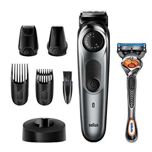 Braun BT7240 Herren-Barttrimmer und Haarschneider, 39Längeneinstellungen, schwarz/grau-metallic