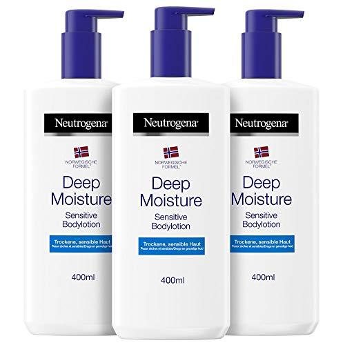 Neutrogena Deep Moisture Bodylotion Sensitive, Norwegische Formel, Körpercreme parfümfrei, Trockene und...