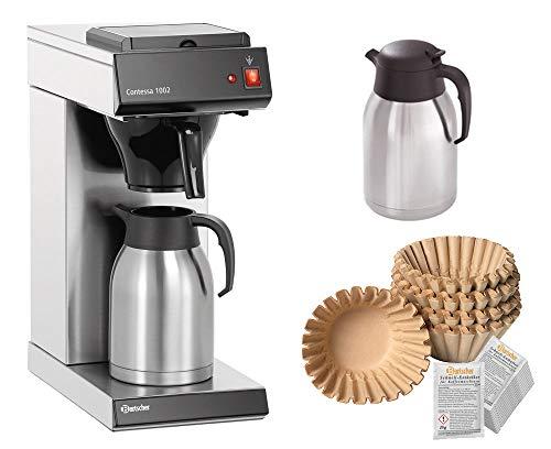 Bartscher Kaffeemaschine Korbfilter Contessa 1002 + Ersatzkanne + 250 Korbfilter + Entkalker