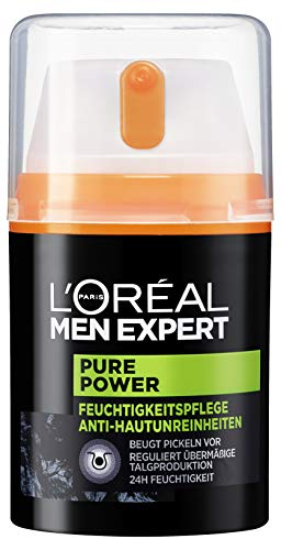 L'Oréal Men Expert Gesichtspflege für Männer, Porenverfeinernde Feuchtigkeitscreme für unreine Haut, Pure Power Feuchtigkeitspflege Anti-Hautunreinheiten, 1x 50ml