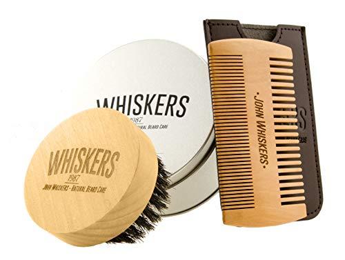 John Whiskers Bartbürste und Bartkamm-Set - Bartpflege-Set für Männer mit reinen Wildschweinborsten - Ideal für Bartöl & Bartwachs